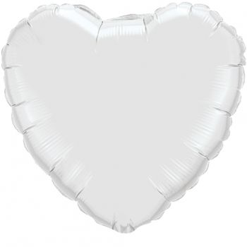 18-inch White Heart Microfoil Balloon