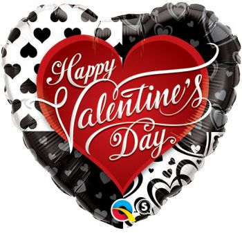 "18"" Valentine's Black Hearts Mylar Balloon"