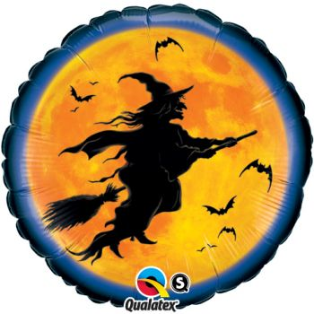 "18"" Halloween Flying Witch Silhouette Mylar Balloon"