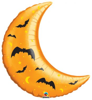 "35""  Halloween Crescent Moon & Bat Mylar Balloon"