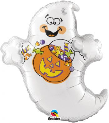 "25"" Halloween Trick-Or-Treat Ghost Mylar Balloon"