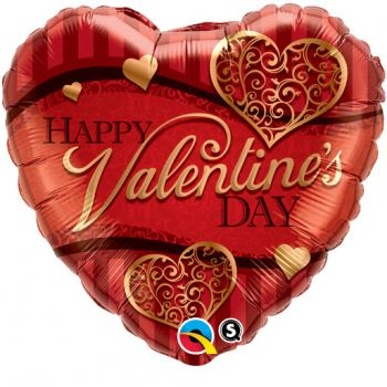 "18"" Valentine's Golden Filigree Mylar Balloon"