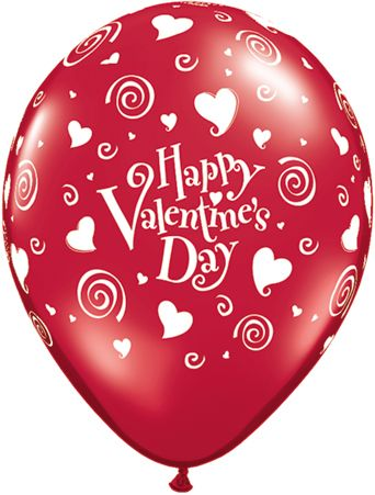 "11"" Valentine's Swirling Hearts Latex Balloons"