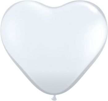 "6"" Qualatex Pearl White Heart Latex Balloon"