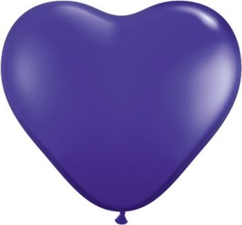 "6"" Qualatex Quartz Purple Heart Shape Latex Balloon"