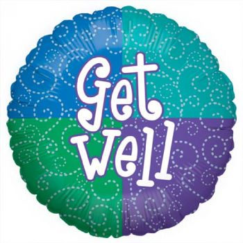 "18"" Get Well Silver Swirl Mylar Balloon"