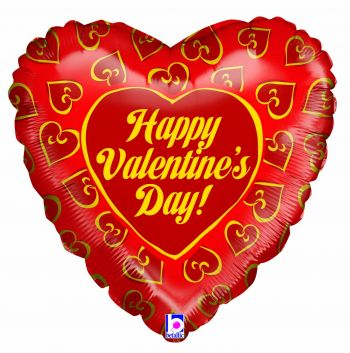 "18"" Valentine's Hearts of Gold Mylar Balloon"