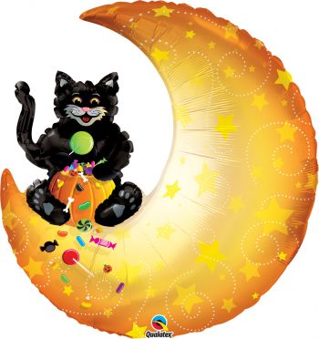 "35"" Halloween Trick-Or-Treat Cat & Moon Mylar Balloon"