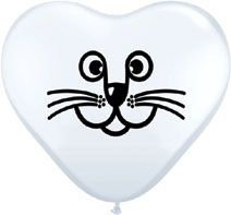 "5"" Qualatex White Cat Face Latex Balloons"