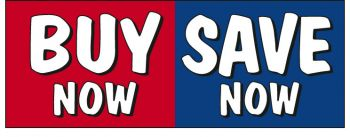 Buy Now Save Now Giant Cloth Banner