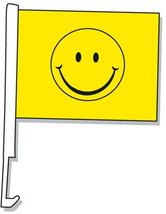 Smiley Face Car Window Flag